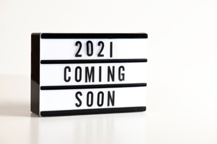 Sign with 2021 coming soon wording in black font