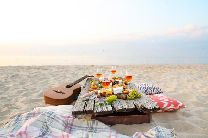 Intimate picnic set up on beach