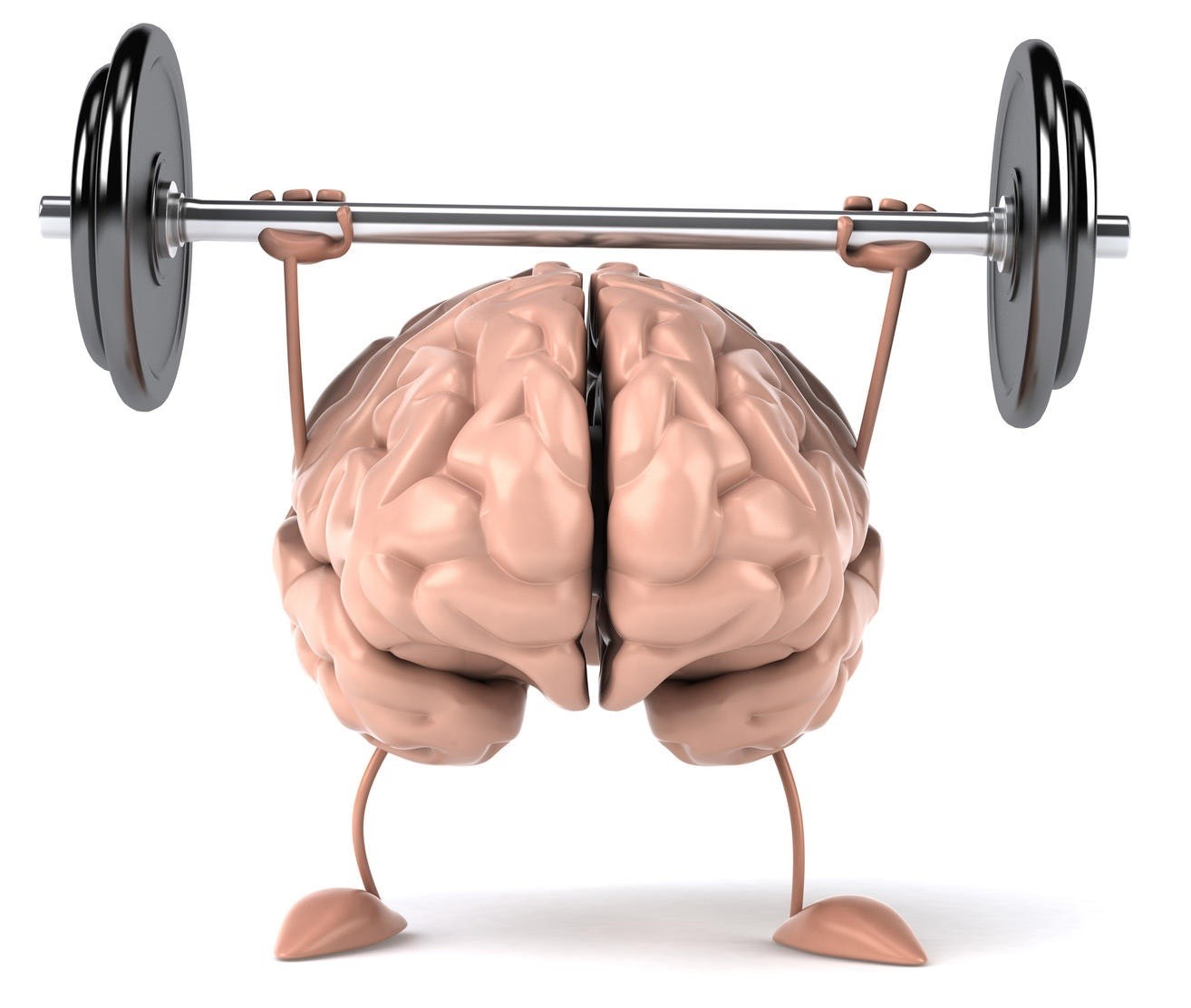 Brain with hands up bench pressing weights