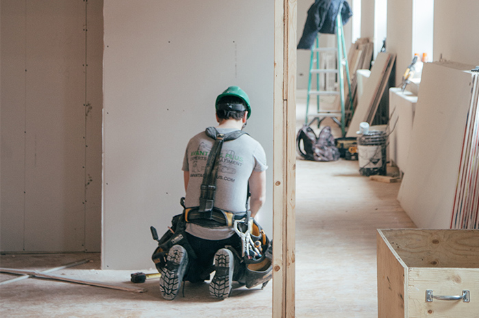 Building contractor on construction site