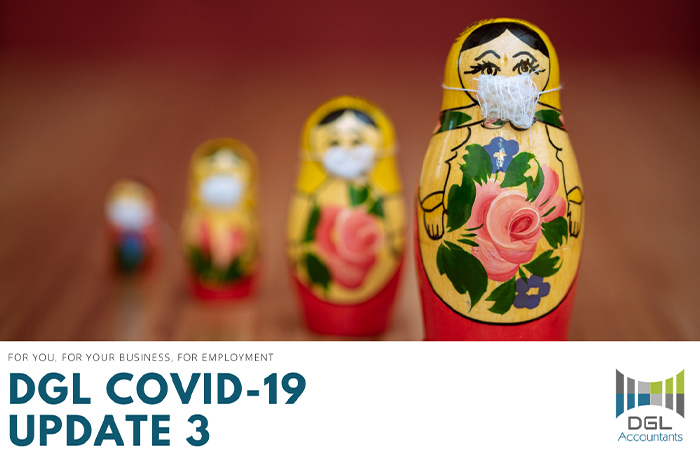 COVID-19 Update 3 banner with Chinese wooden dolls in a line wearing face masks