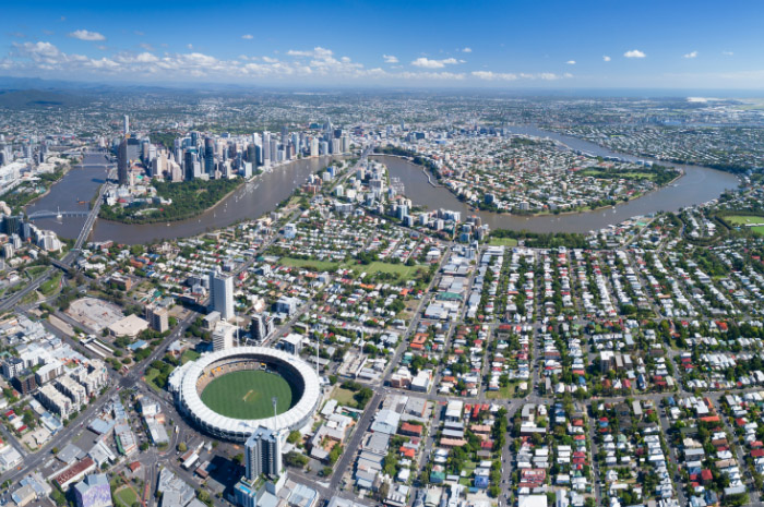 Aerial view of Brisbane city and surrounding suburbs